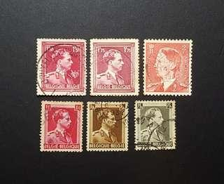 Belgium vintage stamps from 1940s King Leopold III