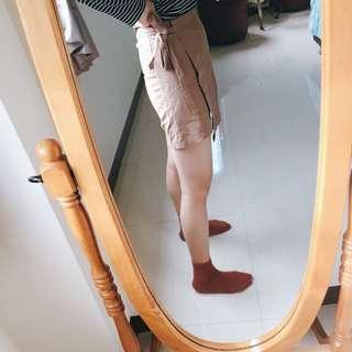 🚚 韓國帶回 磚褐色側綁帶裙
