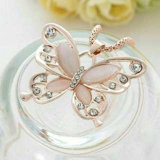 Rose Gold Plated Butterfly Long Chain / Necklace / Rantai Leher