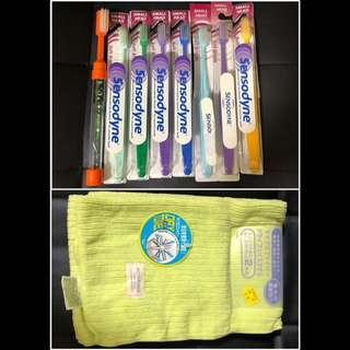 洗漱系列 速乾毛巾2條連sensodyne細頭牙刷4支