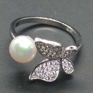 Butterfly Ring with Fresh Water Pearl