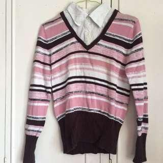 Pink Polo Sweater Blouse