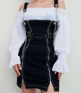 Black Overall Dress w/ Zips & Chains