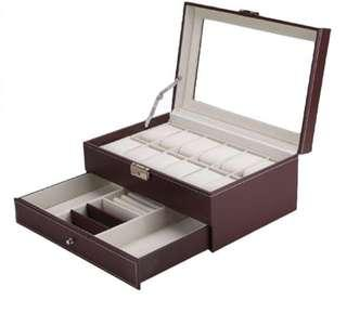 12 Grids Slots Watches Display Storage Box Case PU Leather Double Layers.