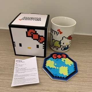 Hello Kitty 瓷杯連杯墊 吸水杯墊 nanoblock mug with coaster