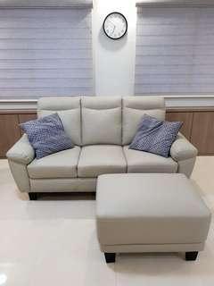 Sofa - 3 Seat Half leather & Ottoman (pocket spring)