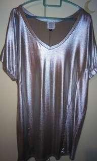 Silver metallic shining long top