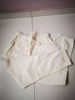 White drawstring pants