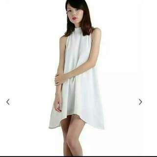 🚚 TTR Rio High Neck Flare Dress In White #1212
