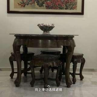 Chicken wing wood dining table set