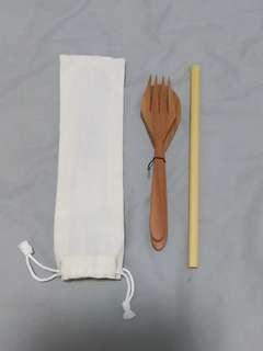 🚚 Wooden Cutlery Set (Fork, Spoon,.Straw in pouch)
