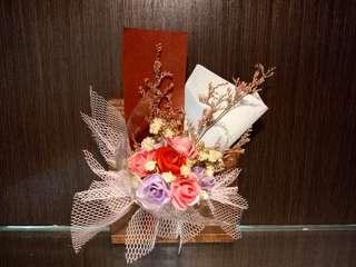 🚚 乾燥花+仿真花花束木頭紙鎮(裝飾品(交換禮物(聖誕禮物(結婚紀念品