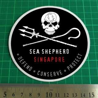 SEA SHEPHERD SINGAPORE Car / Vehicle Windshield / Windscreen Decal. 11cm diameter. $8 each. 3 for $20 + Free Normal Mail.