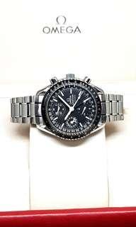 Omega Matte Black Triple Date Chronograph Watch