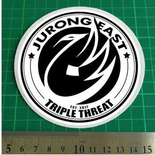 NOT FOR SALE. Custom Order Fulfilled. Jurong East Triple Threat. Vehicle / Car Windshield / Windscreen Static Cling Decal.