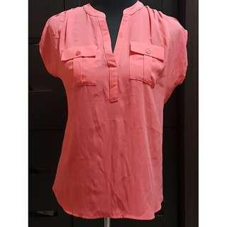 Preloved Imported Salmon Pink See-Through Blouse with Extended Sleeves (Size Details on Description)
