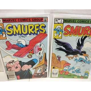 SMURFS #1 and #2 Marvel 1ST PRINTING! 1ST APP  in Comics! Fine