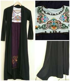 2in1 Embroidery Dress Black Long Cardigan