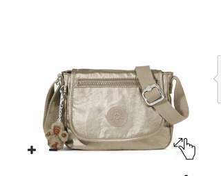 Kipling Sabian Metallic Pewter Crossbody Sling Bag