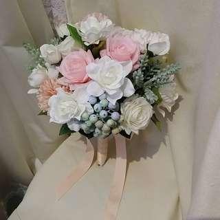 全新 粉紅 白 香檳 新娘絲花結婚花球 silk bonquet