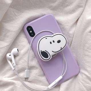 史奴比素色耳機壓縮氣壓手機架手機殼iPhone x/6sp/7p/8