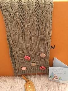 L V Tan Constance wool scarf