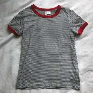 H&M Red-Black&White Striped Top (NWOT)