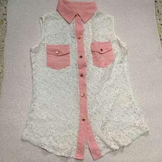 Laced Sleeveless Collared Top
