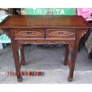 小o結緣館仿古傢俱.......二抽方腳案桌'書桌''玄關桌'''擺飾桌106x48x88(雞翅木)
