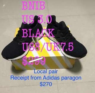 Ultra Boost 3.0 UK7.5/US8 Core Black Local Pair BNIB  With receipt With adidas paper bag $299 $270 (now) *Brought At Adidas paragon $299