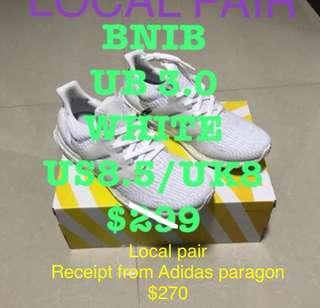Ultra Boost 3.0 UK8/US8.5 Core White Local Pair BNIB With receipt With adidas paper bag $299 $270 (now) *Brought At Adidas paragon $299