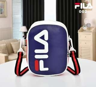Sling Bag Fila 002# Semi Premium Bahan : Kulit Sintetis (NO BOX) 15x5x20.5cm Warna : Black, Red, White, 3Tone Berat : 0.2kg,no.wa.081378713287