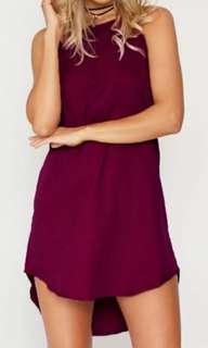 Wine Red short dress