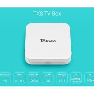 TX8 MAX TV BOX 2.4 / 5.8GHZ WIFI 4K X 2K BLUETOOTH 4.0
