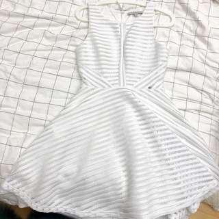 超新正品Guess白色連衣裙背心裙收腰帶內襯