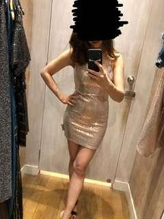Miss Selfridge petite gold dress