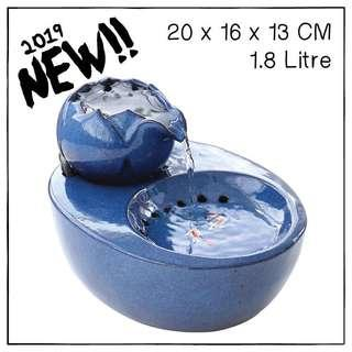 """LotusBlue"" 1.8L Ceramic Pet Drinking Fountain"
