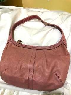 美國 Coach 粉色 皮質 手袋 handbag pink