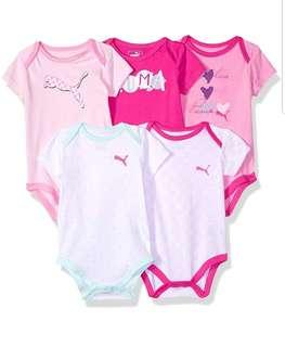🚚 *9M* Brand New Puma 5-Pack Short Sleeve Bodysuits For Baby Girl