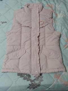 嫩粉色立領舖棉保暖背心