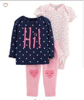 *9M* BN Carter's 3-Piece Little Character Set For Baby Girl