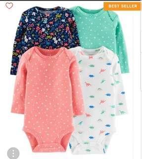 🚚 *9M* BN Carter's 4-Pack Long Sleeve Bodysuits For Baby Girl