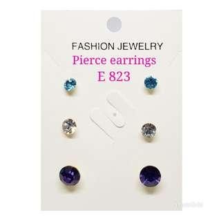 3pairs in 1 Pierce Crystals Earrings with assorted sizes & colours: E823