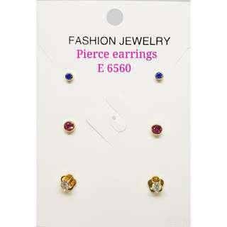 3pairs in 1 Pierce Earrings Crystals Earrings with assorted sizes & colours: E 6560