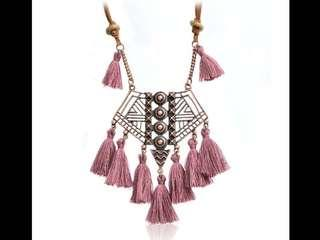 Boho Tassel Necklace And Gold Bracelet (Preorder)