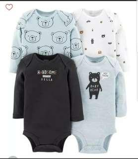 🚚 *3M* BN Carter's 4-Pack Long Sleeve Bodysuits For Baby Boy