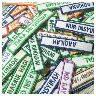 Embroidered school nametags /iron-on labels