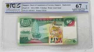 $5, Replacement note. Z/1
