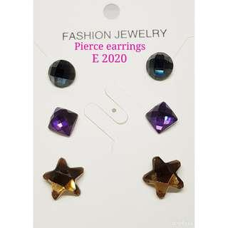 3 pairs in 1 Pierce Crystals Earrings: E 2020