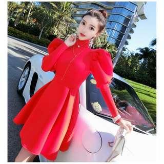 Pre order red long sleeve OL office formal dress  RBP0917